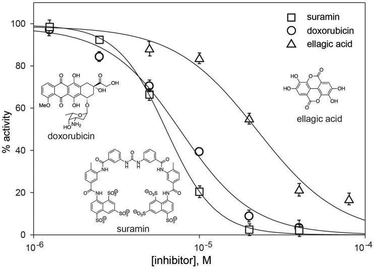 Dose–response assays with three hit compounds from the pilot HTS, suramin, doxorubicin and ellagic acid (the chemical structures are shown as insets). The assays were performed with 1.25 µM of <t>DNA,</t> 110 µM of NTP and 0.5 µM of <t>Mtb</t> DnaG.