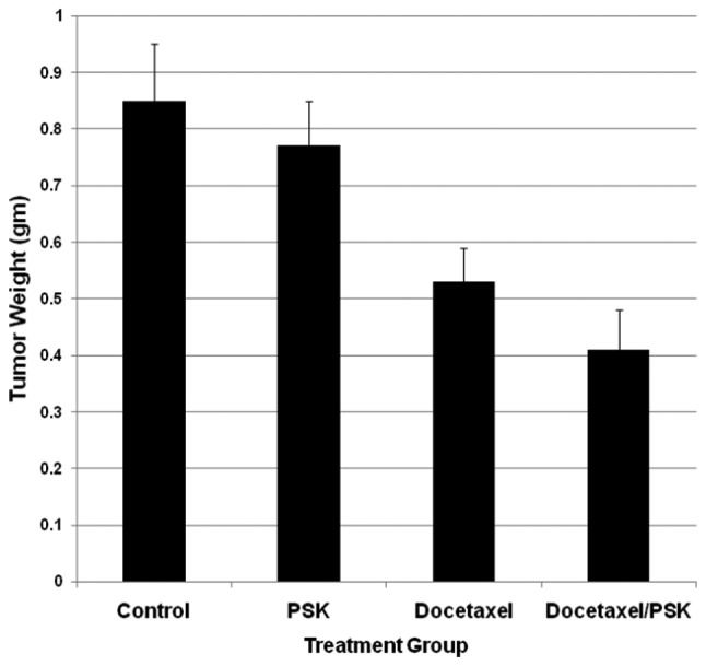 Oral administration of PSK plus docetaxel induces tumor regression. C57BL/6 mice with established tumors (50 mg) were treated with oral saline control daily, oral PSK (300 mg/kg) daily, i.p. injection of docetaxel (2x weekly) or a combination of PSK and docetaxel for a period of 10–12 days. Mean tumor weight ± standard error measurement (mean ± SEM) are shown for each treatment group of mice (n=7/group). PSK combined with docetaxel significantly suppressed tumor growth as compared to saline control, PSK or docetaxel treatments alone (P