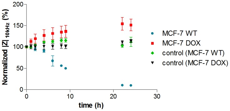 Drug response of MCF-7 WT cells and MCF-7 DOX cells to 20 µM doxorubicin during 24 h at LF (10 kHz). Data points (mean ± SEM, n = 5) were normalized to the magnitude value at t = 0 h. The impedance drops sharply at LF for MCF-7 WT cells, indicating that 20 µM doxorubicin is strong enough to induce toxic effects, while cells in the absence of drug (control) were healthy and LF signal was relatively unchanged. On the other hand, MCF-7 DOX cells displayed increasing impedance compared to their control indicating resistance to this drug concentration and demonstrating the substantial differences in the drug response of MCF-7 WT cells and their drug resistant phenotypes.