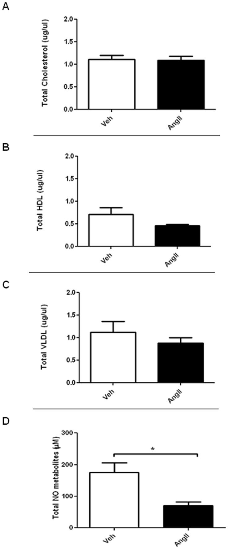 Effects of AngII infusion on plasma nitrite/nitrate, total cholesterol, high density lipoprotein <t>(HDL)</t> and very low density lipoprotein <t>(VLDL).</t> Box plots showing plasma (A) total cholesterol; (B) HDL, (C) VLDL and (D) total NO metabolites in saline-infused (Veh) and AngII -infused (AngII) ApoE −/− mice. Results are mean±SEM; n = 5; Statistical significance shown as *P