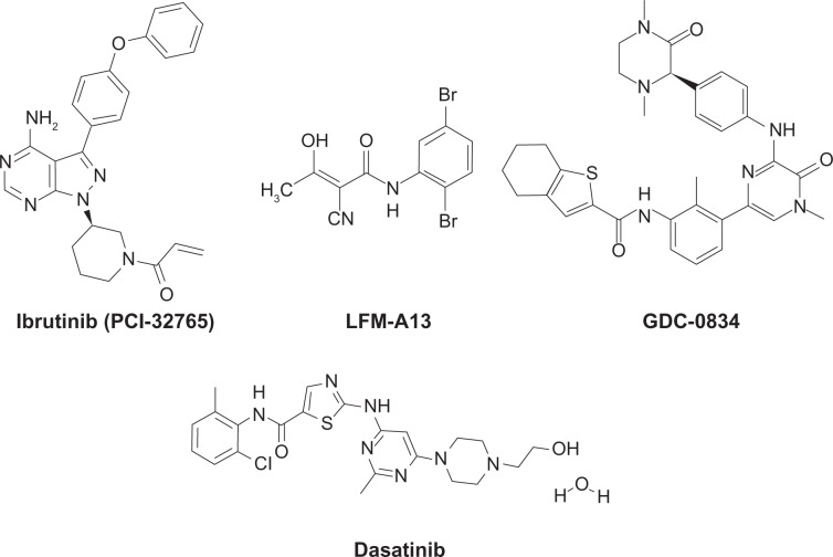 Chemical structures of Bruton's tyrosine kinase inhibitors. Ibrutinib (PCI-32765) is a covalent inhibitor currently under phase II and III clinical development for B-cell malignancies. Note: LFM-AI3, GDC-0834, and <t>dasatinib</t> are noncovalent adenosine triphosphate-competitive Bruton's tyrosine kinase inhibitors.