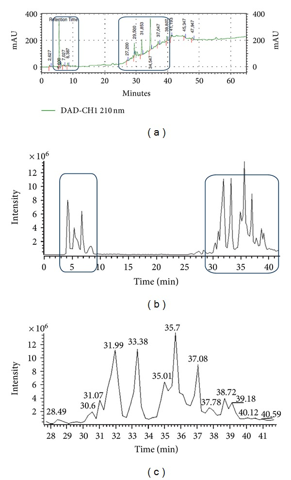 (a) HPLC-DAD chromatogram of SART (detection 210 nm) and betulinic acid at Rt = 8.387 min. (b) HPLC-DAD-ESI-MS (negative mode) chromatogram of SART. Triterpene zone between 5 and 10 min and saponin zone between 30 and 40 min (c) HPLC-DAD-ESI-MS chromatogram of SART: expansion of the saponin zone between 30 and 44 min.