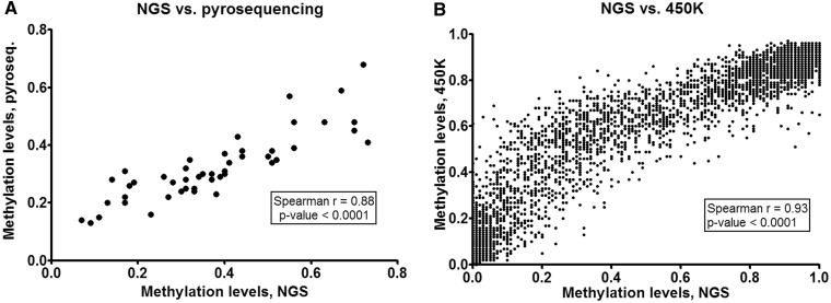 The validation of the NGS data. ( A ) Validation by pyrosequencing. Data points for 12 CpG sites (located in genomic intervals chr9:137 249 931–137 249 946, chr19:16 045 054–16 045 121 and chr16:87 875 316–87 875 361) in samples 1, 2, 3 and 4 are shown on a single plot. ( B ) Validation by <t>Illumina</t> 450 K BeadChip assay. Data points for 1880 CpG sites in samples 2, 3 and 4 are shown on a single plot.