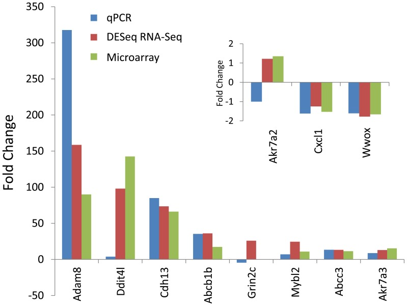 Test and validation of differential expression between qPCR, RNA-Seq and microarray by select transcripts. The mean fold changes for each group were compared in the bar chart for eight high to medium fold change transcripts and three low expression change transcripts (inset). qPCR data were normalized to β-actin expression for each sample. Means of significant (p≤0.05) fold changes from control were computed for qPCR, DESeq and microarray using RNA from the same 4 animals in each analysis.