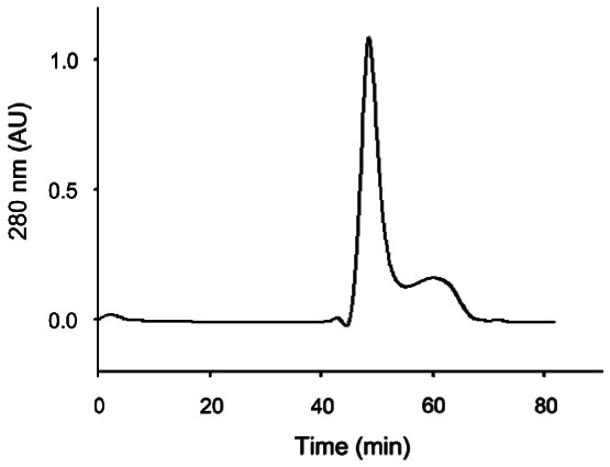 Elution patterns of gintonin prepared from ginseng root by <t>gel</t> <t>chromatography.</t> Gel <t>filtration</t> chromatograms on Superdex 75 column with phosphate buffered saline (pH 7.2) of edible gintonin prepared from ginseng root. Analysis through gel filtration chromatograms showed one main peak and other minor peaks. The main peak was active for the activation of Ca 2+ -activated Cl - channel.