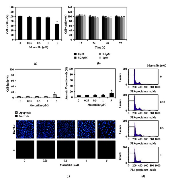Cytotoxicity of moscatilin on human lung H23 cells. (a) Cells were treated with various concentrations of moscatilin (0–5 μ M) for 24 h. (b) Cells were treated with moscatilin (0-1 μ M) for various times (0–72 h). Cytotoxicity was determined by 3-(4,5-dimethyl-thiazol-2-yl)-2,5-diphenyl tetrazolium bromide (MTT) assay. (c) After indicated treatment for 24 h, mode of cell death was examined by Hoechst33342/PI costaining assay and Annexin-V staining assay. (d) Cellular apoptosis was determined by DNA content analysis using flow cytometry. Data represent the means ± SD ( n = 4). * P