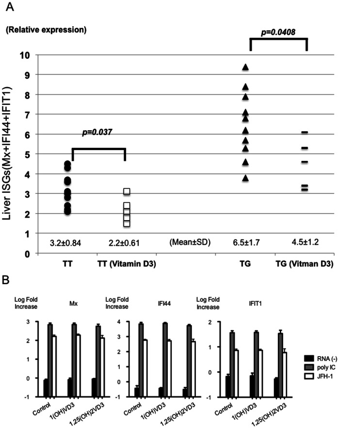 The effect of vitamin D3 on the expression of ISGs mRNA in the liver. The relative amount of target mRNA was obtained by using a comparative threshold cycle (CT) method. The expression levels of Mx, IFI44 or IFIT1 mRNA in an IL28B T/T patient treated without 1(OH) vitamin D3 are represented as 1.0 and the relative amounts of target mRNA in the other patients were calculated by the comparative Ct method [42] . Therefore, the standard amount of 3 ISGs (Mx, IFI44 and IFIT1) is 3. The relative amounts of the 3 kinds of ISGs were added and shown in the graph (A). Black circles indicate the data from IL28B (T/T) subjects treated without 1(OH) vitamin D3. White boxes indicate the data from IL28B (T/T) subjects treated with 1(OH) vitamin D3. Black triangles indicate the data from IL28B (T/G or G/G) subjects treated without 1(OH) vitamin D3. Black lines indicate the data from the subjects treated with 1(OH) vitamin D3 (A). The effect of vitamin D3 on the expression of ISGs mRNA in the hepatocyte cell culture are shown (B). Huh-7 cells were treated with ethanol (control), 1(OH) vitamin D3 (1.0 µM) or 1,25(OH) 2 vitamin D3 (1.0 µM) after transfection of poly IC (Sigma-Aldrich, St. Louis, MO) or in vitro transcribed JFH-1 full-length RNA. Cells were harvested 30 h after transfection, and the expression levels of Mx, IFI44 and IFIT1 mRNA were assessed by real-time PCR using TaqMan Gene Expression Master Mix (Applied Biosystems, Carlsbad, CA) and gene-specific primer and probe sets (TaqMan Gene Expression Assay; Applied Biosystems) in accordance with the manufacturer's instructions. The expression levels of genes with or without vitamin D3 treatment were expressed by log fold increase of untreated Huh-7 cells.