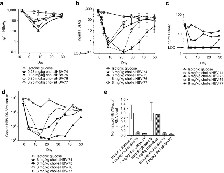 Efficacy and the duration of knockdown after coinjection of chol-siHBVs and NAG-MLP in the <t>pHBV</t> mouse model of chronic hepatitis B virus (HBV) infection. NOD-SCID mice were given a hydrodynamic tail vein injection with ( a , e ) 13.5 µg pHBV1.3 or ( b – d ) 10 µg pHBV1.3. Three or more weeks thereafter, mice were given one 200 µl IV coinjection of 6 mg/kg NAG-MLP and 0.25 mg/kg, 1 mg/kg or 6 mg/kg chol-siHBV-74, -75, -76, or 77 ( n = 3–4). ( a , b ) HBsAg and ( c ) HBeAg in serum were measured by enzyme linked immunosorbent assay at the indicated times relative to injection on day 1; LOD, limit of detection. ( d ) DNA was isolated from serum and the concentration of HBV genomes was quantitated by qPCR. ( e ) <t>RNA</t> was isolated from the liver 14 days after chol-siRNA injection. The relative amount of HBV transcripts was determined by RT-qPCR using a probe that was within the S gene and normalizing to the endogenous β-actin mRNA. At each dose level the chol-siRNA injected mice were compared with isotonic glucose-injected mice with similar initial HBsAg levels (isotonic glucose groups A and B). Standard deviation bars are shown for HBsAg and HBV RNA quantitation. Serum HBV DNA and HBeAg levels for each group were determined by combining equal proportions of serum from each mouse within the group to obtain sufficient pooled sample at each time point ( n = 3–4).
