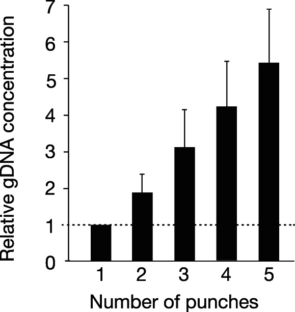 gDNA yield increases with increasing number of dried blood spot punches. The indicated number of punches was obtained from 19 archived DBS for gDNA extraction. DNA yield was determined by Qubit ( Table S1 ) and the values (mean ± S.D.) were normalized to the yield for a single punch. p