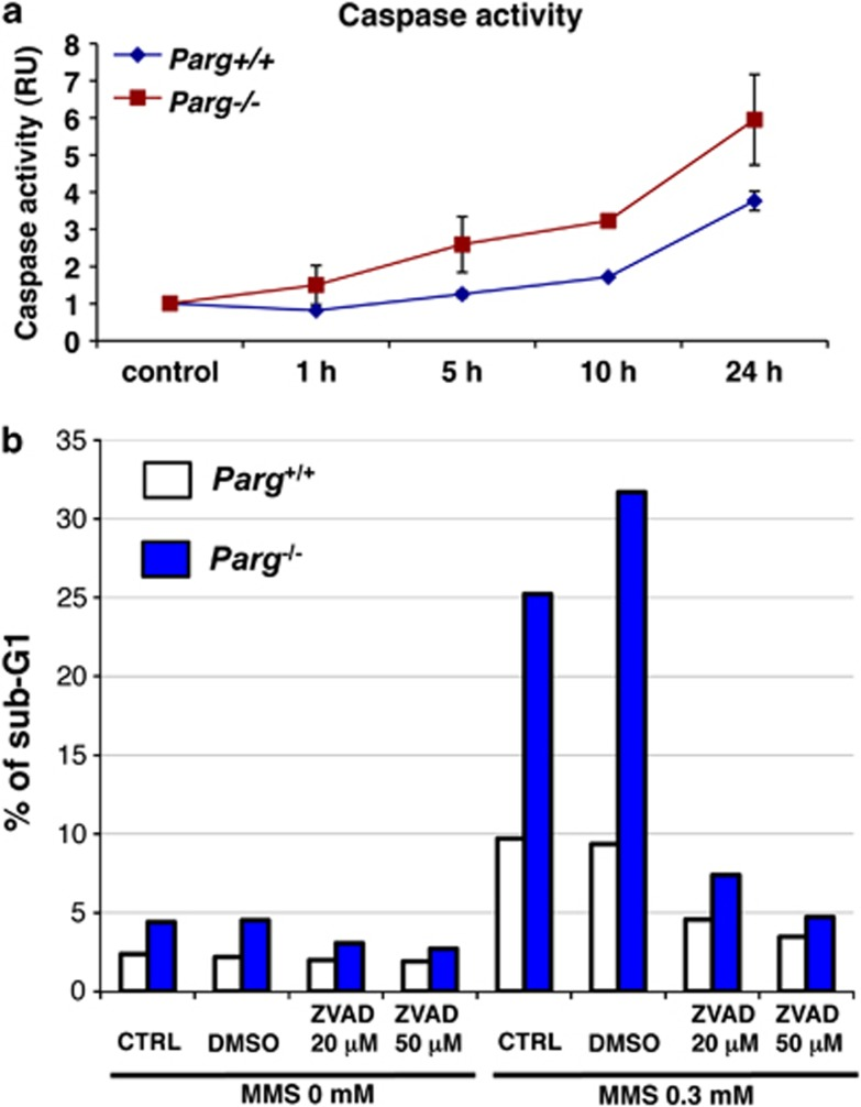 Enhanced <t>caspase</t> activity and suppression of enhanced cell death by caspase inhibition in Parg −/− ES cells, following treatment with 0.3 mM MMS. ( a ) Caspase activity. ( b ) Cell death in Parg −/− ES cells in the presence and absence of the caspase inhibitor <t>ZVAD</t> at 20 and 50 μ M. Mean values of representative duplicate experiments are plotted