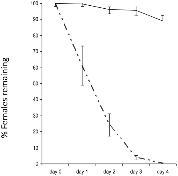 Percentage of irradiated females remaining in control cages and treatment cages. Elimination of irradiated females from the population (approximately 500 females and 500 males) over 4 days in control cages (solid line) and in cages fed with 7.5 ppm ivermectin-spiked blood (semi-dotted line). Error bars represent SEM.