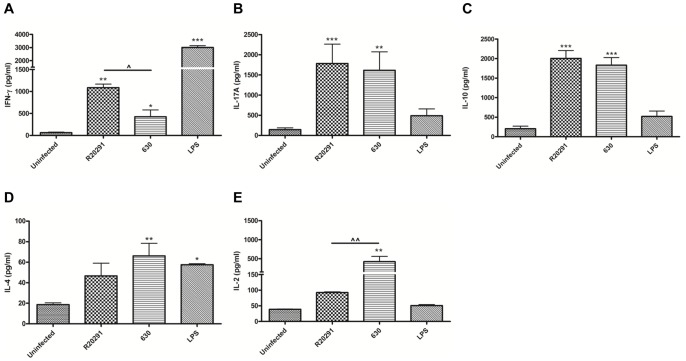 Generation of Th1/Th17 mediated immunity in response to C. difficile in an in-vitro murine model system. WT BMDCs were infected with PFA-fixed C. difficile strains. 24 h post-infection, stimulated BMDCs were co-cultured with WT splenocytes in the presence of anti-CD3/CD28. 96 h post co-culture, secreted cytokines IFN-γ (A), IL-17A (B), IL-10 (C), IL-4 (D) and IL-2 (E) were measured by ELISA. 1 µg/ml LPS stimulation served as reference control. Data represent mean ± SEM, n = 3. */ ∧ p