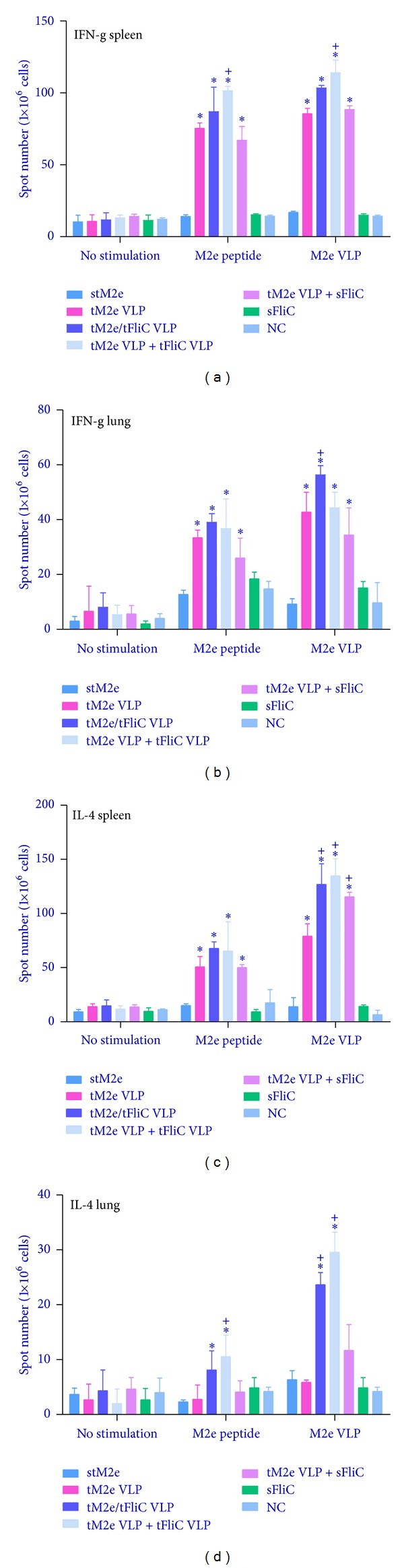 """Cellular immune responses. Cellular immune responses were assessed with cells from spleens and lungs of immunized mice. Cells from spleens ((a), (c)) and lungs ((b), (d)) were stimulated with M2e peptides and M2e VLPs for 40 hours, and cytokine-secreting cell colonies were determined by ELISPOT assay. Each group has 3 mice. The asterisk (∗) indicates a significant difference between G2 and G1, G3 and G1, G4 and G1, and G5 and G1. The """"+"""" indicates a significant difference between G3 and G2, G4 and G2, and G5 and G2."""