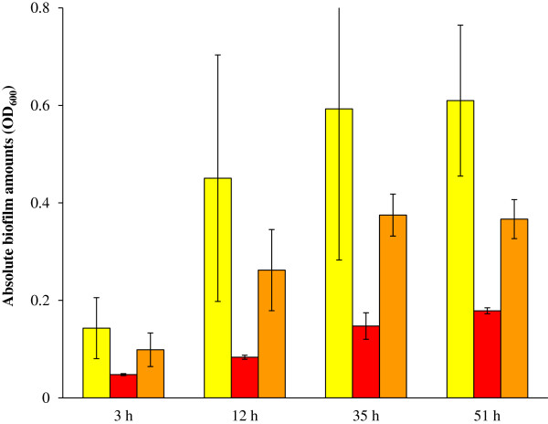 CV assay to quantify the biofilm amounts of the ompR and rcsB mutants in comparison to the parent strain. The biofilm biomass was determined for BP1470 (AJW678 pPS71), BP1531 ( ompR :: Tn 10 pPS71) and BP1532 ( rcsB :: Tn 5 pKK12). This was done at four different time points, which are indicated on the x-axis. The yellow bars are the biofilm biomass of the parent strain, the red bars are for the ompR mutant, and the orange bars are for the rcsB mutant. Averages and standard deviations were calculated across three replicate experiments.