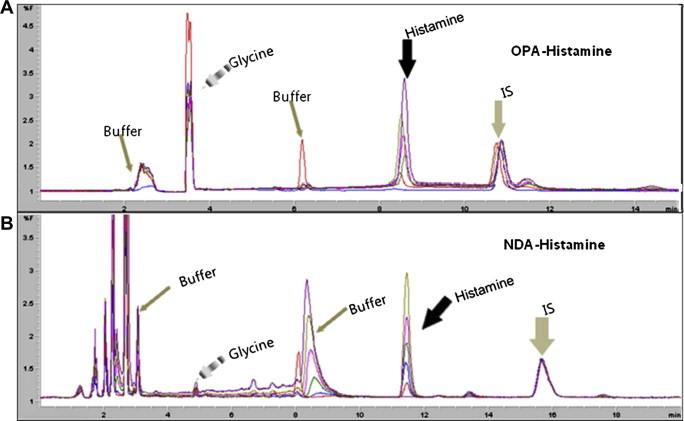 HPLC chromatograms of different fluorescent labeling agents: (A) OPA; and (B) NDA. Six different concentrations of histamine-containing samples with IS were analyzed and the chromatograms overlapped after each fluorescent agents' derivatization.