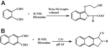 Derivatization reaction schemes of OPA (A) and NDA (B) with histamine.