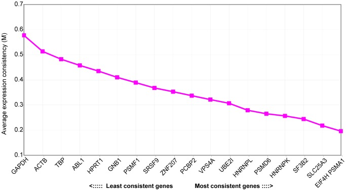 Average expression consistency of control genes in qRT-PCR. Average expression consistency (M) was calculated with the GeNorm algorithm [18] based on qRT-PCR for the indicated control gene on a panel of 14 leukemia samples and one cord blood sample. Lower M values relate to genes which proved to have more consistent expression levels across the samples used.