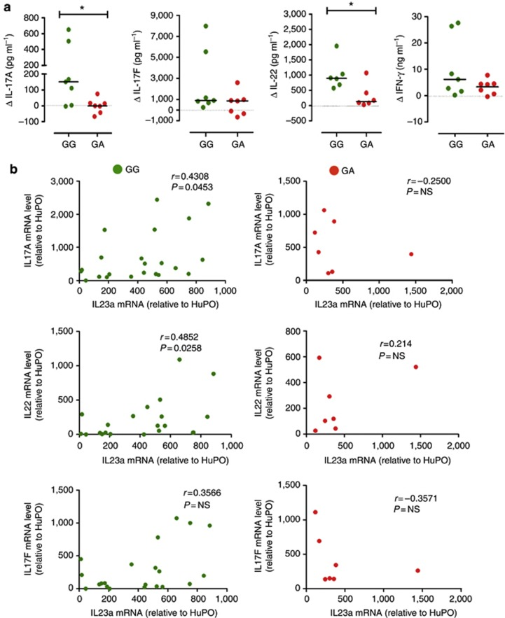 IL23R A/Glu381 allele reduces IL-23 responsiveness in human memory Th17 cells and interrupts the IL-23/th17 axis in the skin of heterozygous psoriatic patients. ( a ) Memory CD4+ T cell supernatants from psoriatic patients homozygous GG (green dots) and heterozygous GA (red dots), cultured with or without IL-23 for 72 hours, were assayed for IL-17A, <t>IL-17F,</t> IFN-γ, and IL-22 secretion. Data are shown as differential <t>cytokine</t> production (Δ) in cells cultured with versus without IL-23. Each symbol represents one individual donor. Dotted line denotes Δ=0. Horizontal bars represent medians. Mann–Whitney test was performed; * P