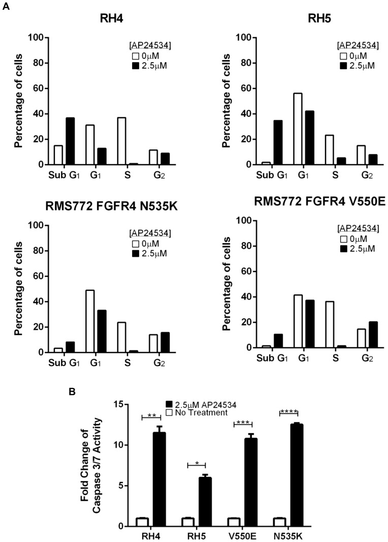 Ponatinib (AP24534) holds cell cycling at sub G 1 phase and induces cell death via apoptosis. (A) Cell cycle analysis of the two most sensitive cell lines to ponatinib, RH4 and RH5, and the two RMS772 cell lines expressing FGFR4 mutations (N535K and V550E) showed increased time in sub G 1 phase and decreased time in S phase across all four cell lines after 24 hours of treatment with 2.5 µM ponatinib. (B) Cell death induced by 2.5 µM ponatinib treatment is mediated via the caspase 3/7 pathway (*p = 0.0029, **p = 0.0027, ***p = 0.0017, ****p = 0.0001).