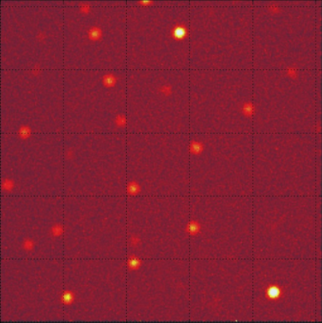 Example of TOF diffraction patterns of RNaseA obtained by one detector located at 54° in 2θ.