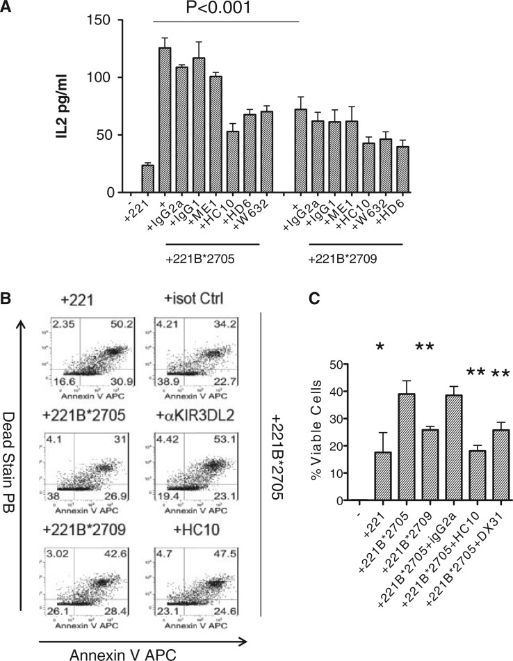 KIR3DL2 binds more strongly to cell surface HLA-B*27:05 than HLA-B*27:09. ( A ) IL-2 secretion by KIR3DL2CD3ε-reporter Jurkat T cells stimulated with ( A ) HLA-B*27:05 and HLA-B*27:09 transduced 221 cells. Effect of HC10, HD6, ME1 and W632 MAbs on IL-2 secretion by KIR3DL2CD3ε-transduced Jurkat T cells is also shown. Representative of three independent experiments. ( B ) Left hand panels: proportions of viable (Annexin V, Live-Dead negative) KIR3DL2 + NK cells after 6 day stimulation with parental 221 cells or 221B*27:05 and 221B*27:09 cells. Right hand panels: pproportions of viable (Annexin V, Live-Dead negative) KIR3DL2 + NK cells after 6 day stimulation with 221B*27:05 cells and anti-KIR3DL2 (DX31) or HC10 and W632 antibodies or isotype control antibody (IgG2a). Representative FACS stains from one of three independent experiments with an NK cell line from a healthy B27 control. ( C ) Proportions of viable KIR3DL2 + NK cells after 6 day stimulation with 221, 221B*27:05 or 221B*27:09 cells or 221B*27:05 cells with anti-KIR3DL2 (DX31), HC10, W632 or isotype control (IgG2a) antibodies. Mean proportions of surviving cells ± 1 s.d. from three independent experiments. * P