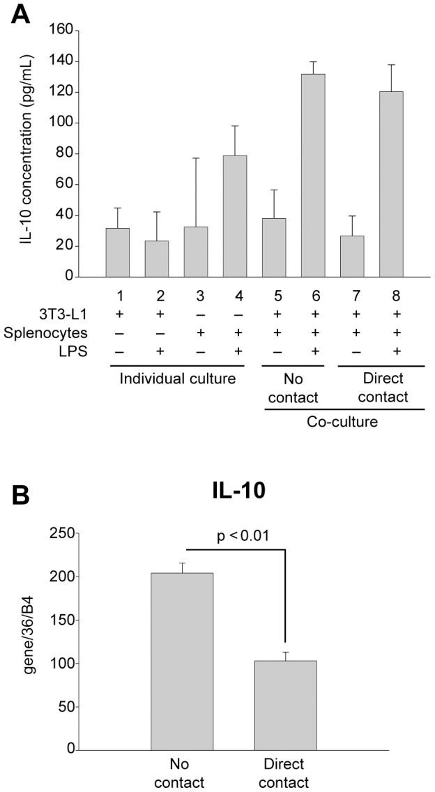 Effects of paracrine factors and cell contact on IL-10 secretion and expression. (A) Differentiated 3T3-L1 adipocytes or wild type murine splenocytes were cultured alone (columns 1 and 2 or 3 and 4, respectively) or together with either no contact (columns 5 and 6) or direct contact (columns 7 and 8). Cells were incubated in the absence (-) (columns 1, 3, 5 and 7) or presence (+) (columns 2, 4, 6 and 8) of LPS (1 µg/mL) for 24 h as indicated. Interleukin-10 (IL-10) in culture media was quantified by capture ELISA. (B) Differentiated 3T3-L1 adipocytes were co-cultured with no contact or direct contact with GFP-expressing murine splenocytes as in Figure 3 and activated by incubation with LPS (1 µg/mL) for 24 h. Splenocytes were sorted as GFP-positive cells by FACS and IL-10 mRNA expression was measured by qRT-PCR. qRT-PCR values were normalized to values obtained for 36B4. In (A) experimental points were measured in triplicate for calculation of means and standard deviations. Comparison between all conditions was calculated using ANOVA followed by the post-hoc Bonferroni test. No statistical significance was found between any measured points (p > 0.05). For (B), experimental points were performed in duplicate, and a statistical comparison between no contact and direct contact was made using an unpaired two-tailed Student's t-test.