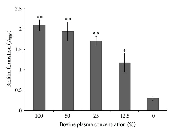 Biofilm formation by S. mutans following growth in bovine plasma as quantified by crystal violet staining. Results are expressed as means ± standard deviations of triplicate assays from two independent experiments. * P