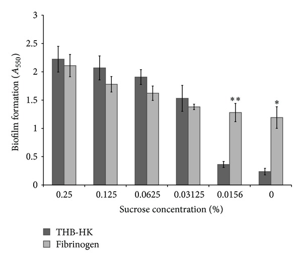 Effect of various concentrations of sucrose added to THB-HK medium in the presence and absence of fibrinogen on biofilm formation by S. mutans . Results are expressed as means ± standard deviations of triplicate assays from two independent experiments. * P