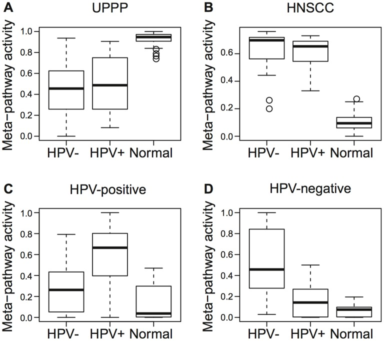 Meta-pathway activity identified in 44 HNSCC and 25 UPPP samples. Relative activity of meta-pathways associated with (a) UPPP, (b) HNSCC, (c) HPV-positive, and (d) HPV-negative samples.