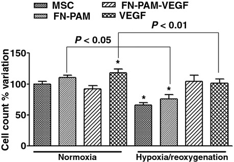 Cell growth in normoxia for 3-days (first four bars), and cell survival after 3-days hypoxia and 3-hrs reoxigenation (H/R), of MSC pre-treated or not with factors (free-VEGF-A, FN-PAMs or FN-PAM-VEGF) for 24-hrs. Data are% variation with respect to mean value of MSCs kept under standard conditions for 3-days (MSC-3-N). In normoxia only free-VEGF-A pre-treatment induced a significant increase in cell number. Only pre-treatment with FN-PAM-VEGF was able to counteract hypoxia-induced cell number reduction. * P
