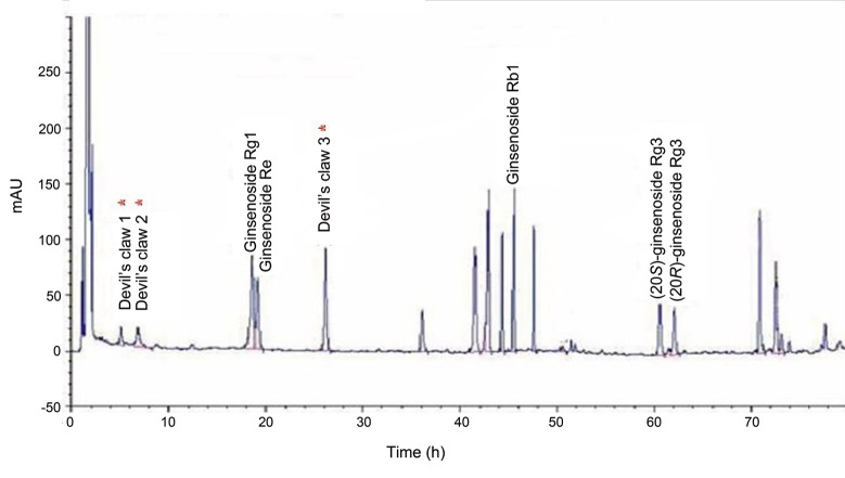 HPLC fingerprint of ginsenosides standards in a devil's claw* matrix. The HPLC setup: Discovery HS C18 material (SUPELCO, 250×4.6 mm, 5 μm) at room temperature (25℃) with a sample injection volume of 20 μL (20 mg/mL); mobile phase: acetonitrile and water gradient.