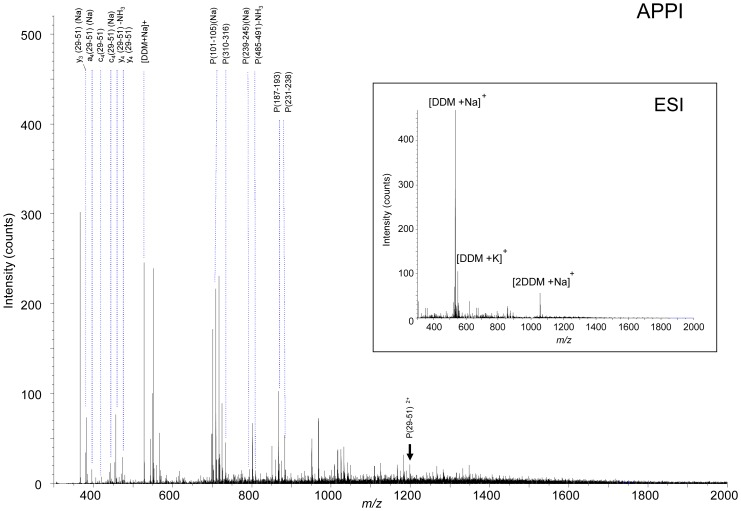 Mass spectrometry analysis after in -solution digestion of the protein BmrA. The purified protein BmrA (10 µM) was digested using trypsin in the solution containing 0.05% DDM, 50 mM NaCl, 50 mM Tris/HCl pH 8, 10% glycerol and 5 mM beta-mercaptoethanol. The mixture was investigated by mass spectrometry in ESI or APPI under dopant assisted conditions using toluene and 9 eV photons. The precursor ion m/z 1198.75 corresponding to the first transmembrane domain is labelled with a black arrow.