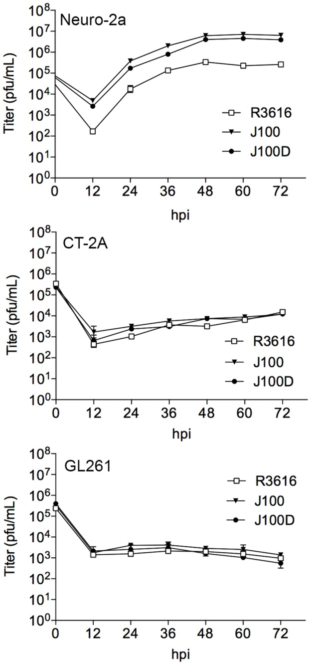 Replication of J100 and J100D in Neuro-2a, but not GL261 or CT-2A cell lines. In these multi-step replication assays, cells are infected at a multiplicity of infection (MOI) of 0.1 to allow multiple rounds of replication. The concentration of cellular-associated virus at each indicated timepoint was determined by limiting dilution plaque assay. Neuro-2a cells are permissive to oHSV replication as demonstrated by the amplification of infectious viral particles above the initial titer at infection. GL261 and CT-2A cells do not support replication of oHSVs. Individual data points represent the mean ± SD of triplicate samples. pfu – plaque forming units; hpi – hours post infection.