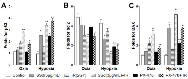 Effect of saikosaponin-d and radiation on the mRNA levels of p53, bcl2 and BAX in SMMC-7721 human hepatocellular carcinoma cells under normoxia and hypoxia. A . Fold changes in p53 mRNA; B . Folds changes in bcl-2 mRNA; C . Fold changes in BAX mRNA; SSd: saikosaponin-d; IR: radiation; *p