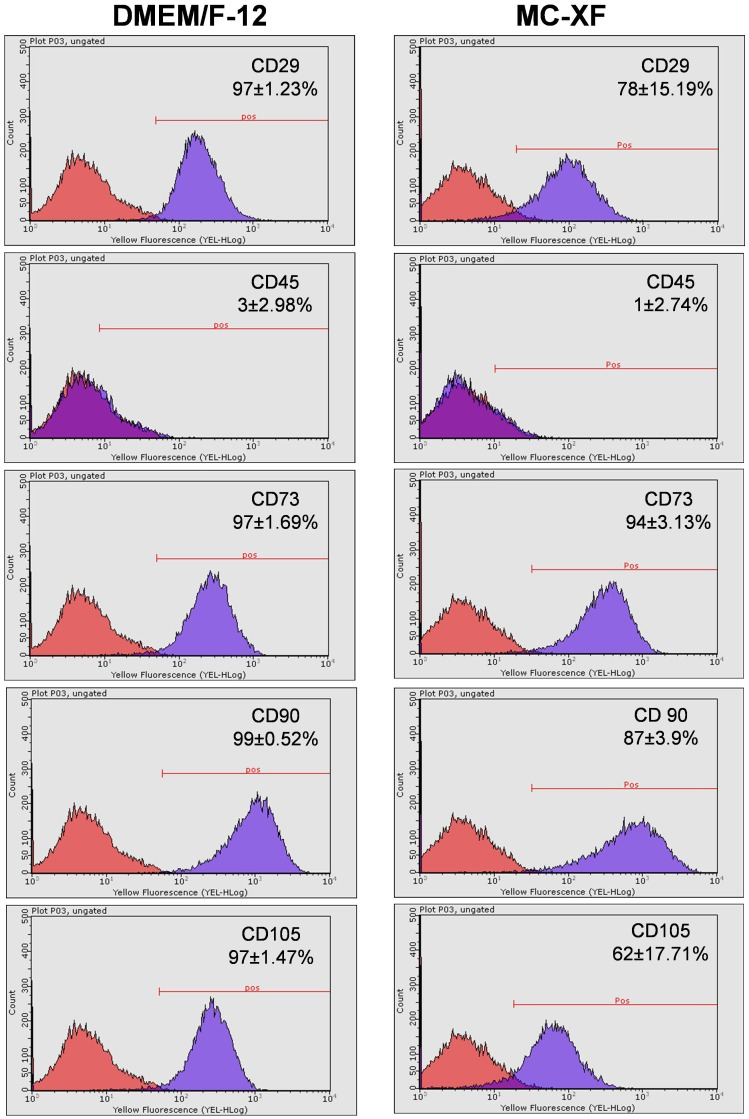 Expression patterns of DMEM- and MC-XF-cultured JPCs (growing within coated flasks) by flow cytometric analyses. Representative histograms and the average percentages (±STD) of positive cells for CD29, CD45, CD73, CD90 and CD105 expression by unseparated JPCs are illustrated.