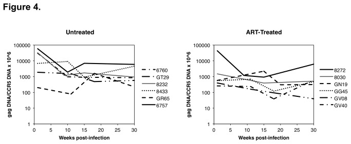 The ratio of RT-SHIV gag DNA copies per 10 6 macaque CCR5 DNA copies were measured in PBMC isolated at different time points from each of the untreated and treated macaques.
