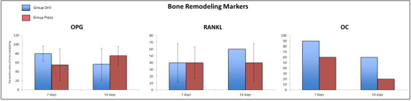 Immonohistochemical analysis of bone remodeling markers during the bone regeneration process. Percentile ranks of immunolabeling for Osteoprotegerin (OPG), Receptor activator of nuclear factor kappa-B ligand (RANKL), and Osteocalcin (OC) at 7 and 14 days after surgery, in bone defects generated by drilling (Drill) or piezosuregry (Piezo). No statistically significant differences were found across all time points (n = 3).