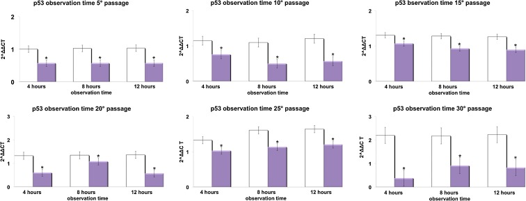 Effect of REAC TO-RGN on p53 gene expression. hADSCs at passages 5, 10, 15, 20, 25, and 30, reaching 80 % confluence, were exposed for 4, 8, or 12 h in the absence or presence of REAC. The amount of p53 mRNA from control ( white bars ) and TO-RGN-treated ( purple bars ) cells was normalized to HPRT1 and was plotted as fold change relative to the mRNA expression at passage 5 (time 0), defined as 1. ( Asterisk ) significantly different from the untreated cells (mean ± S.E.; n = 6) ( P
