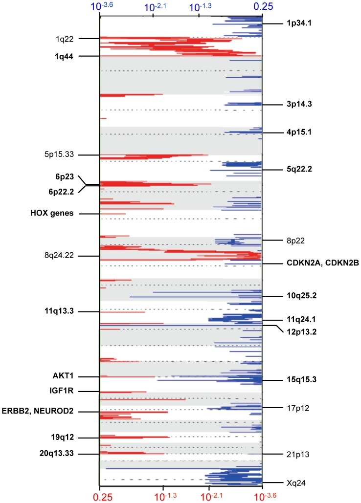DNA Copy Number Analysis of Breast Brain Metastasis. GISTIC analysis was conducted on Agilent SurePrint G3 Human CGH Microarray data for 15 breast brain metastases. Significant false discovery rates (Q-values) for amplified (red) and deleted (blue) regions are plotted genome-wide. Annotations for a few of the significant regions are shown. Focal amplifications and deletions are annotated in boldface, and broad amplifications and deletions are annotated in non-boldface. Q-values for deleted and amplified genes are displayed along the x-axis on top and bottom of the figure, respectively.