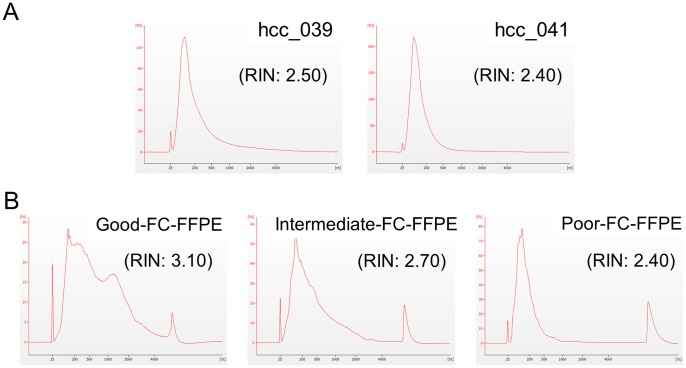 Bioanalyzer results for total RNA isolated from (A) AS-FFPE HCC tissues, and (B) good, intermediate, and poor quality FC-FFPE tissues. The AS- and FC-FFPE RNA samples were extracted from different samples. AS: archived section, FFPE: formalin-fixed paraffin-embedded, HCC: hepatocellular carcinoma, FC: freshly cut, RIN: RNA Integrity Number.