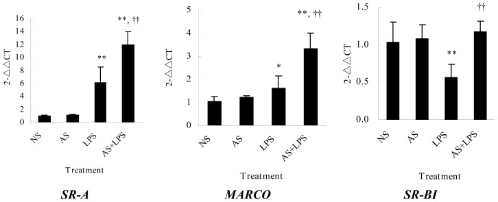 Influences of AS on mRNA expression of SR-A , MARCO and SR-BI . Peritoneal macrophages (2.0 × 10 6 /mL, 2 mL) in six-well plates were incubated with or without AS (10 μg/mL) for 2 h and treated with LPS (100 ng/mL) for 4 h. Total RNA was extracted, and then qPCR was performed. Amplification reactions were performed in a 7500 Real-Time PCR System (Applied Biosystems, Foster City, CA, USA) for 40 cycles of denaturation at 94 °C for 30 s, annealing at 55 °C for 30 s and extension at 72 °C for 40 s. C T values were determined using the 7500 System SDS Software (v.1.2.3, Applied Biosystems, Foster City, CA, USA). Expression ratios were finally calculated according to the 2 −△△ C T method. Data shown were the means ± standard deviation from four independent experiments. * p