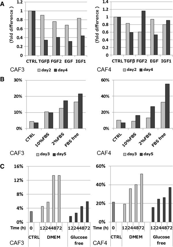 Populations of PDPN+ cells among CAFs affected by environmental conditions. (A) The percentage of PDPN+ cells among CAFs changed in a time-dependent manner by culturing with DMEM-containing growth factors. (B) Populations of PDPN+ cells among CAFs changed by the addition of FBS in concentration- and time-dependent manners. The control (CTRL) condition consisted of DMEM containing 10% FBS and medium changes every day. (C) Populations of PDPN+ cells in cultures of serum-free DMEM increased more rapidly than those in cultures of glucose- and serum-free DMEM.