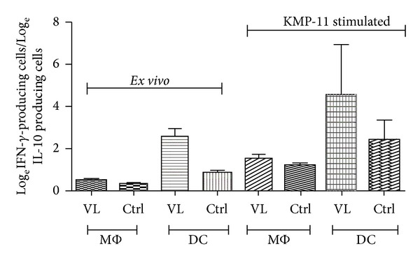Cytokine polarization index after exposure of macrophages and moDCs to KMP-11 and subsequent coculture with T cells in VL patients and healthy controls. Cytokine polarization index after exposure of MΦs and moDCs to KMP-11 and subsequent co-culturing with T cells in VL patients. The index was obtained after calculating the ratio of log e IFN- γ : log e IL-10, based on FACS Calibur using CellQuest Pro software.