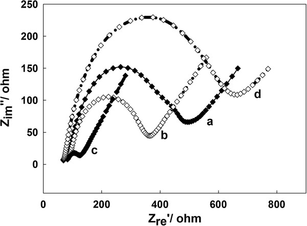 Impedance spectrum of various electrodes in 5.0 mM K 3 Fe(CN) 6 /K 4 Fe(CN) 6 (1:1) containing 0.1 M KCl. Bare electrode (curve a), ss-DNA/GR modified electrode (curve b), PtAuNP/ss-DNA/GR modified electrode (curve c), and GOD/PtAuNP/ss-DNA/GR modified electrode (curve d).