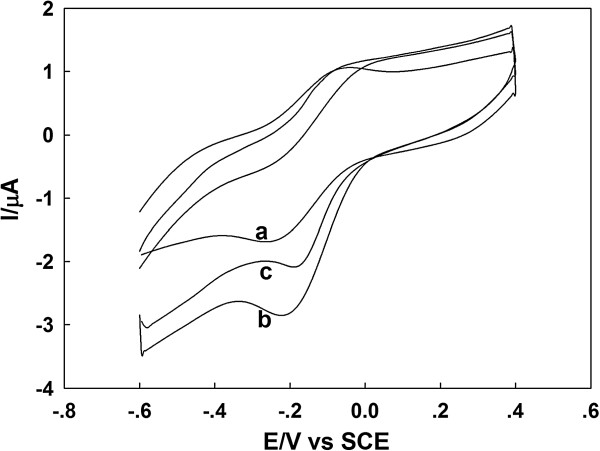 Cyclic voltammograms of GOD/PtAuNP/ss-DNA/GR modified electrode. They are in (curve a) N 2 -saturated and O 2 -saturated PBS (pH 7.0) in the (curve b) absence and (curve c) presence of 1.0 mM glucose at 100 mV s -1 .