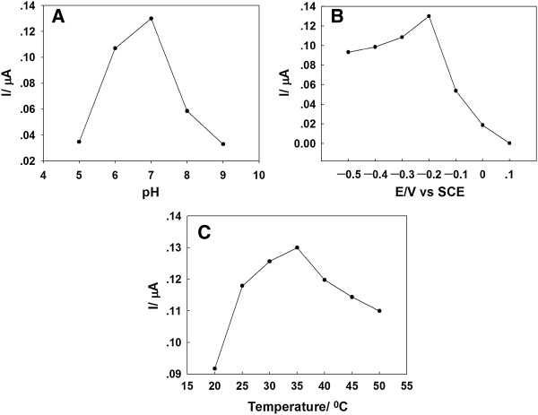 Effects of (A) pH, (B) applied potential, and (C) temperature. These are effects on amperometric response of the GOD/PtAuNP/ss-DNA/GR modified electrode to 0.1 mM glucose in 0.1 M PBS (pH 7.0).