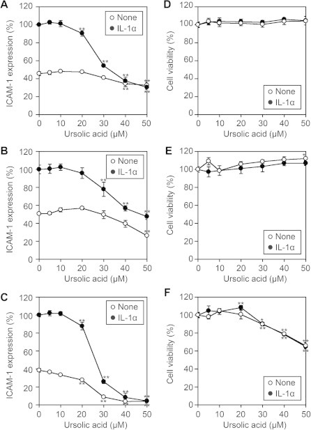 Ursolic acid inhibits IL-1α-induced cell-surface ICAM-1 expression. (A–C) A549 cells (A), MCF-7 cells (B), and HUVEC (C) were preincubated with various concentrations of ursolic acid for 1 h and then incubated with (filled circles) or without (open circles) IL-1α (0.25 ng/ml) for 6 h. Cell-surface ICAM-1 expression was measured by the Cell-ELISA assay. ICAM-1 expression (%) is represented by the means ± S.D. of triplicate cultures. ∗∗ P