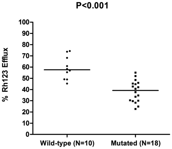 Effect of ATP-binding cassette subfamily B member 1 haplotypes on P-gp activity. P-gp activity was measured as a percentage of the Rh123 efflux and the medians were compared using the Mann-Whitney U test. The haplotype groups were as follows: Wild-type, 1236CC/3435CC/2677GG; and mutated, 1236CT/3435CT/2677GT and 1236TT/3435TT/2677TT. P-gp, P-glycoprotein; Rh123, rhodamine 123.