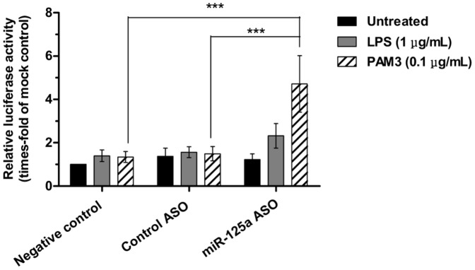 Effect of TLR stimulation and miR-125a inhibition on NF-κB activity in KG1 cells. NF-κB activation was measured after 24 hours from nucleofection of KG1 cells with the luciferase vectors and treatment with ASO. Results are expressed as relative to cells transfected with mock and represent mean ± SEM of n = 4 independent experiments. Method disclosure: technical problems regarding the endogenous Renilla control were experienced during these luciferase assays; only one experiment out of four efficiently expressed the Renilla luciferase and could be properly normalized. Because normalized results were almost identical to non-normalized data, we conducted a joint statistical analysis of the four experiments. Statistical significance: ***P