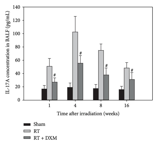 Expression of IL-17A in BALF at the indicated time points. The mice were sacrificed at the time of 1, 4, 8, and 16 weeks after irradiation, and BALF was collected for analysis of IL-17A contents. The contents of IL-17A in the BALF were analyzed by ELISA kits. Radiation stimulated an increase in the levels of IL-17A, but dexamethasone attenuated the IL-17A level in BALF. # P